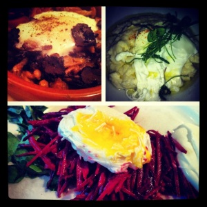 Top Left: Poached Egg and Wild Mushrooms from Barcelona. Top Right: Poached Egg on Creamy Polenta with Mascarpone Bottom: Shaved Beets and Watercress with Dijon, Creme Fraiche and Poached Egg