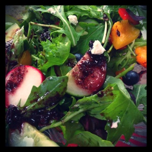 This salad is all about contrast - vibrant, complementary colors, and interesting, unexpeted textural pairings.