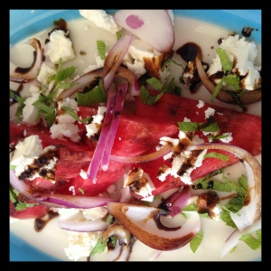 This special at Petrarca e Vino Cucino was a playful combination of thick watermelon wedges, reminiscent of childhood summers at the beach, with aged balsamic, red onion, feta, and mint.