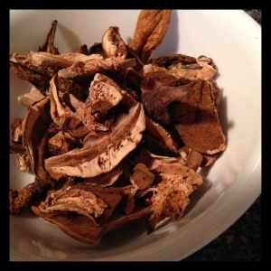 Dried porcini mushrooms are packed with flavor - and more than double in size when cooked, making them a perfect base for any vegetable soup or stew.