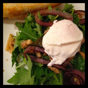 Mizuna Salad with Poached Egg -