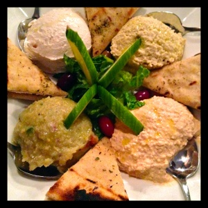 A low-calorie alternative to hummus, Baba Ghanoush (Pictured on Bottom Left) you can even buy a container from Sabra.