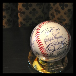 A sample of the tasteful memorabilia used to realize the room's theme in the Baseball Suite.