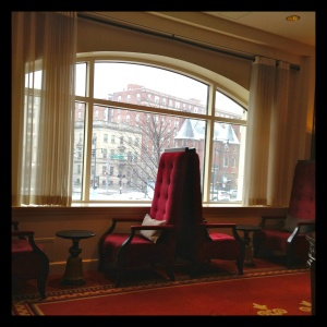 Freshly dusted with snow, the view of Kenmore Square from the hotel lobby was a quick reminder of how much I loved Boston.