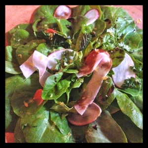 Salad #2: A whole floret of butter lettuce, with fresh-picked herbs and thin-sliced root vegetables.