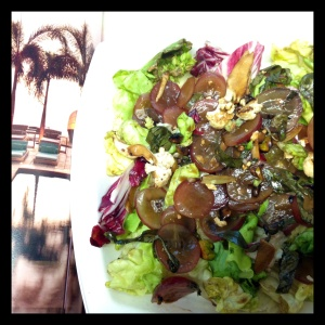 Plate the salad over a bed of butter lettuces and radicchio for a larger portion, without doubling the serving size and adding unwanted calories.