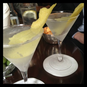 Two elegant gin martinis at Dukes Hotel in London, with a titanic twist of Amalfi Coast lemon.